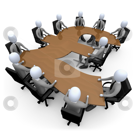 Financial Meeting stock photo, 3d people having a meeting around a pound-shaped table . by Konstantinos Kokkinis
