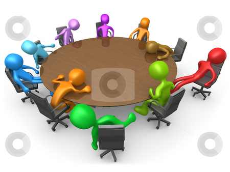 Exhausting Meeting stock photo, 3d people sitting exhausted around a meeting table . by Konstantinos Kokkinis