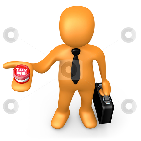 """Try Me stock photo, 3d business person with a """"try me"""" button in his hand. by Konstantinos Kokkinis"""