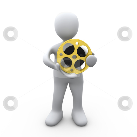 Person Holding A Film Reel stock photo, 3D Person Holding A Film Reel . by Konstantinos Kokkinis