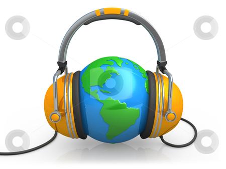 Music stock photo, 3d globe with headphones. by Konstantinos Kokkinis