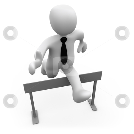Pass The Obstacles stock photo, 3d businessman jumping over a hurdle . by Konstantinos Kokkinis