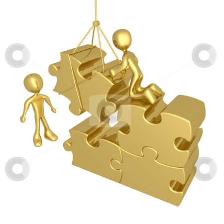 Constructive Team stock photo, 3d people trying to fit a puzzle piece using a crane. by Konstantinos Kokkinis