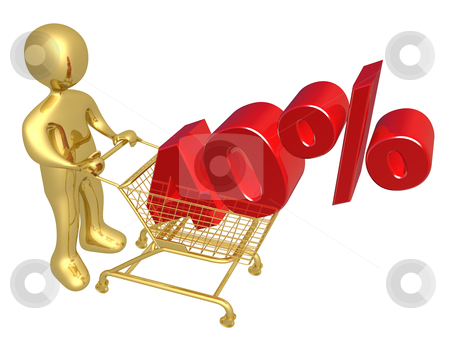 40% Off stock photo, 3d person pushing a shopping cart with a 40% 3d text on it. by Konstantinos Kokkinis