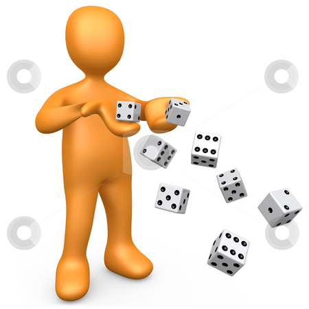 Rolling The Dice stock photo, 3d person rolling lots of dice . by Konstantinos Kokkinis