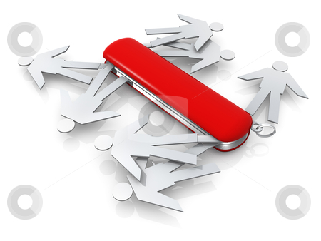 The Right Person For The Job stock photo, Metaphor of a swiss knife full of people . by Konstantinos Kokkinis
