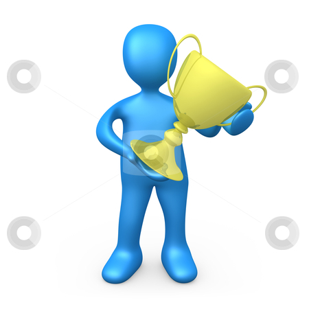 Winner stock photo, 3d person holding a large cup . by Konstantinos Kokkinis