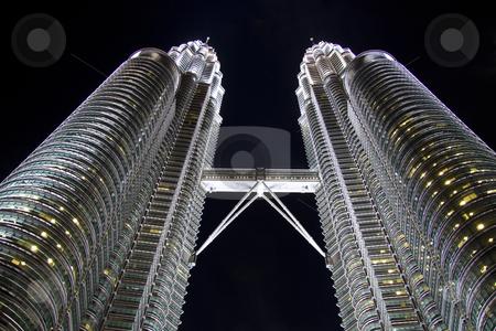 Night view of Twin Towers, Kuala Lumpur, Malaysia stock photo, Night view of Twin Towers closeup, Kuala Lumpur, Malaysia by Ingvar Bjork