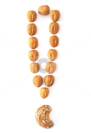 Nuts exclamation mark stock photo, nuts exclamation mark isolated on white background by vetdoctor