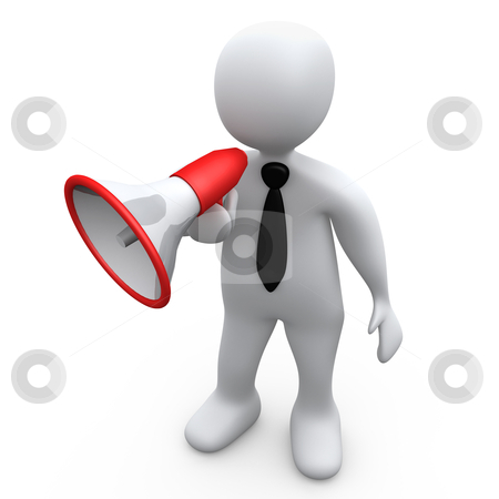 Person With Megaphone stock photo, Computer Generated Image - Person With Megaphone. by Konstantinos Kokkinis