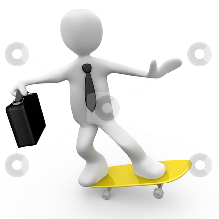 Businessman On Skateboard stock photo, Computer Generated Image - Businessman On Skateboard . by Konstantinos Kokkinis