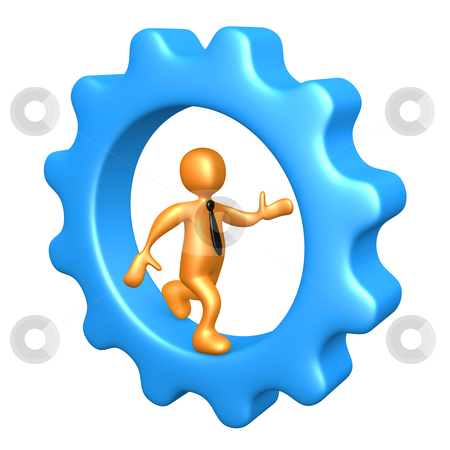 Businessman Running Inside A Cogwheel stock photo, Computer Generated Image - Businessman Running Inside A Cogwheel. by Konstantinos Kokkinis
