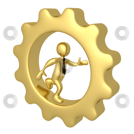 Businessman Running Inside A Cog stock photo, Computer Generated Image - Businessman Running Inside A Cog. by Konstantinos Kokkinis