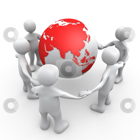 People Of The World stock photo, 3D People Holding Hands Around A Globe . by Konstantinos Kokkinis