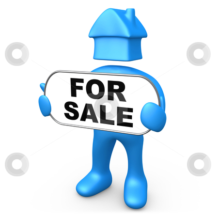 """For Sale stock photo, 3d person with his head shaped like a house holding a sign with the text """"for sale"""" on it. by Konstantinos Kokkinis"""