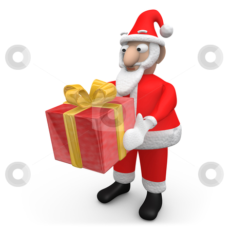 Santa Offering A Gift stock photo, Computer Generated Image - Santa Offering A Gift. by Konstantinos Kokkinis