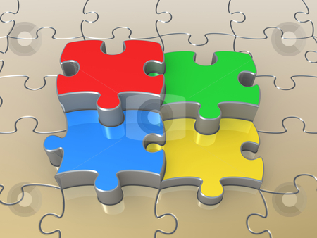 Colored Puzzle Pieces stock photo, Computer Generated Image - Coloroured Puzzle Pieces . by Konstantinos Kokkinis
