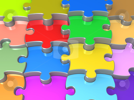 3D Jigsaw Puzzle stock photo, Computer Generated Image - 3D Jigsaw Puzzle . by Konstantinos Kokkinis