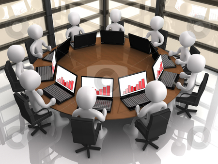 Corporate Meeting stock photo, 3d people having a corporate meeting in their company&#039;s office. by Konstantinos Kokkinis