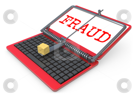 Internet Fraud stock photo, Laptop shown as a mouse trap representing internet fraud. by Konstantinos Kokkinis
