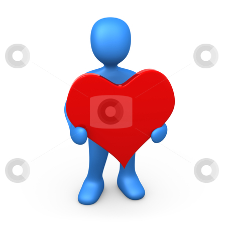 Holding  A Heart stock photo, 3d person holding a big red heart . by Konstantinos Kokkinis