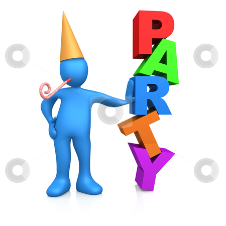 """Party Person stock photo, 3d person standing next to the word """"party"""" . by Konstantinos Kokkinis"""