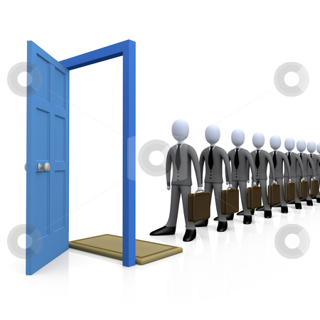 Job Seeking stock photo, business people standing in a row in front of a door. by Konstantinos Kokkinis
