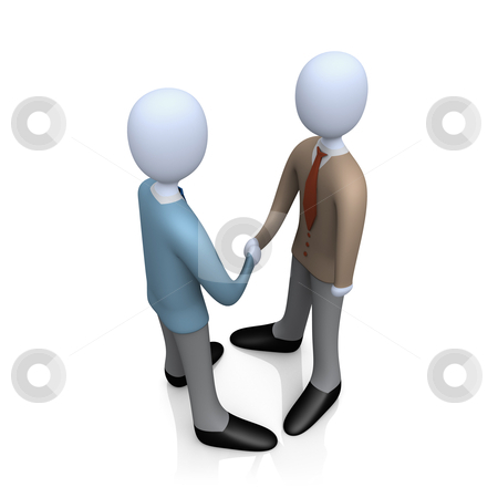 Business Deal stock photo, Illustration of two business people shaking hands . by Konstantinos Kokkinis