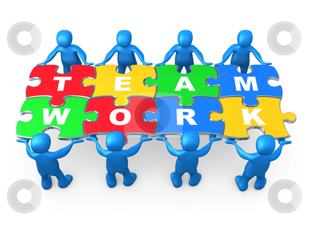 Teamwork stock photo, 3d people holding pieces of a jigsaw puzzle with the word teamwork. by Konstantinos Kokkinis