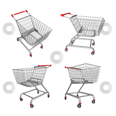 Shopping Cart stock photo, Four angles of a 3d shopping cart . by Konstantinos Kokkinis