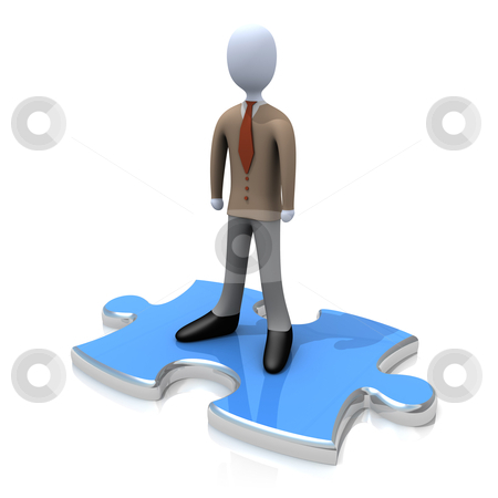 Person On Puzzle stock photo, Computer generated image - Person On Puzzle. by Konstantinos Kokkinis