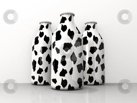 Milk Bottles stock photo, Computer generated image - Milk Bottles . by Konstantinos Kokkinis