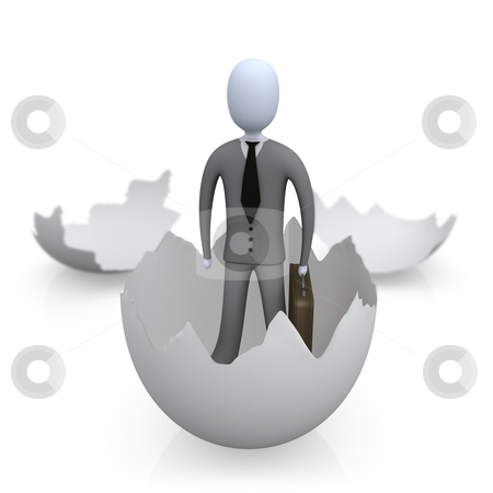 New Business stock photo, 3d person coming out of an egg shell . by Konstantinos Kokkinis