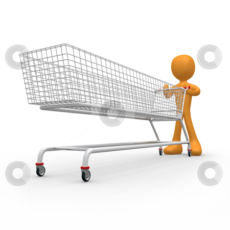 Extreme Shopping stock photo, 3d metaphor of an addicted consumer . by Konstantinos Kokkinis