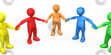 Team stock photo, 3d People Of Different Colors Holding Hands . by Konstantinos Kokkinis