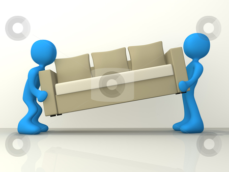 Movers stock photo, Computer generated image - People moving a sofa by Konstantinos Kokkinis