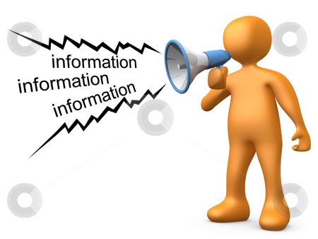 Giving Information stock photo, 3d person holding a megaphone, giving information . by Konstantinos Kokkinis