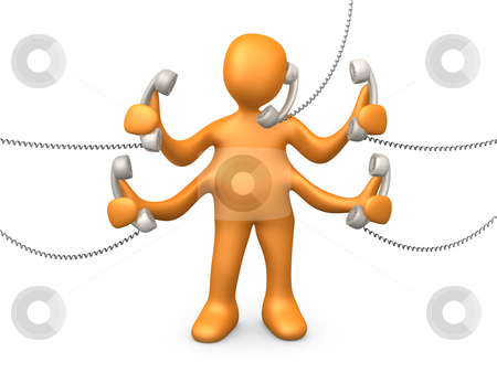 Telephone Support stock photo, 3d person with four arms trying to talk on five different phones. by Konstantinos Kokkinis