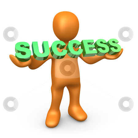 """Success stock photo, 3d person holding the word """"success"""" . by Konstantinos Kokkinis"""