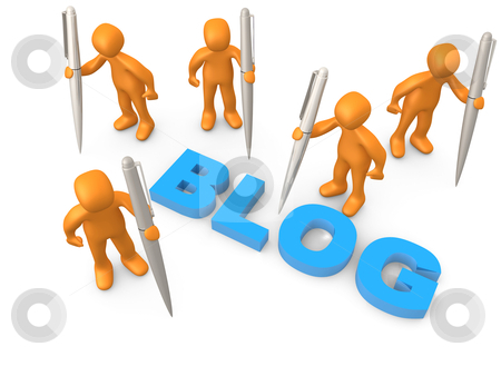 Bloggers stock photo, 3d people holding large pens standing next to the word blog. by Konstantinos Kokkinis