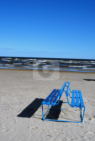 Bench near the sea  stock photo, Blue empty bench near the sea in sunny day  by sauletas