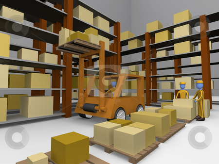 Warehouse stock photo, Computer generated 3d image - Warehouse . by Konstantinos Kokkinis