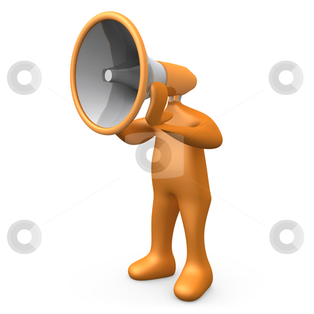 Megaphone Person stock photo, 3d Person with a megaphone instead of a head. by Konstantinos Kokkinis