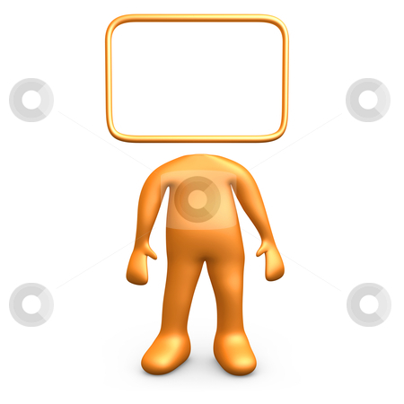 Empty Sign stock photo, Cartoon person with his head replaced with an empty sign. by Konstantinos Kokkinis