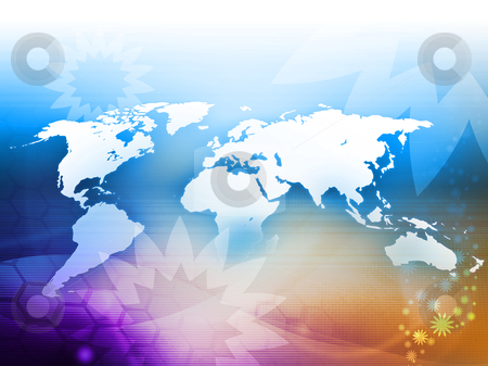 World map  stock photo, world map technology style perfect background with space  by ilolab