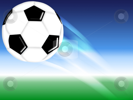 Football ball stock photo, flying soccer football background design by Artem Zamula