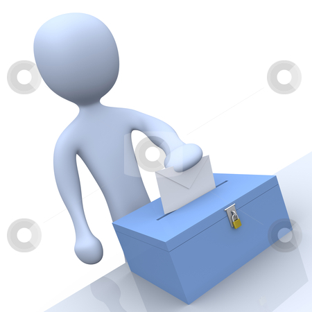 Voting stock photo, 3d character putting a vote into a ballot. by Konstantinos Kokkinis
