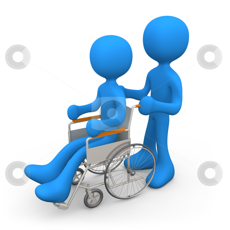 Person On Wheelchair stock photo, Person helping another person on a wheelchair. by Konstantinos Kokkinis