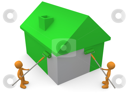 Painting A House stock photo, 3d people painting a house green. by Konstantinos Kokkinis