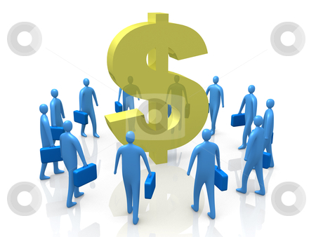 Dollar Gathering stock photo, Business People Gathering Around A Dollar Symbol. by Konstantinos Kokkinis